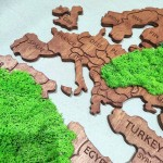 Дерев'яна мапа світу з мохом (від 150х95 см)