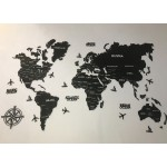 Дерев'яна мапа світу з LED підсвіткою (кольори на вибір)