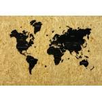 Одношарова мапа світу з дерева з гравіруванням країн та штатів (чорна)