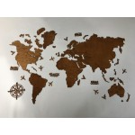 Одношарова дерев'яна мапа світу з LED підсвічуванням (кольори дерева на вибір)