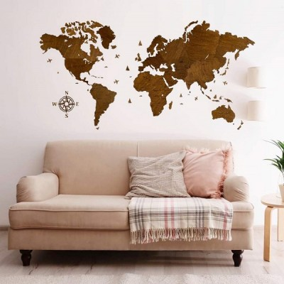 Деревянная карта мира на стену (цвет венге)