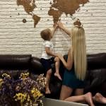 Дерев'яна карта світу на стіну (колір венге)