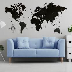 Карта світу з натурального дерева (чорний колір)