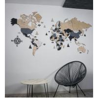 Чотирьохколірна багатошарова дерев'яна настінна карта світу
