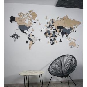 Четырехслойная деревянная настенная карта мира