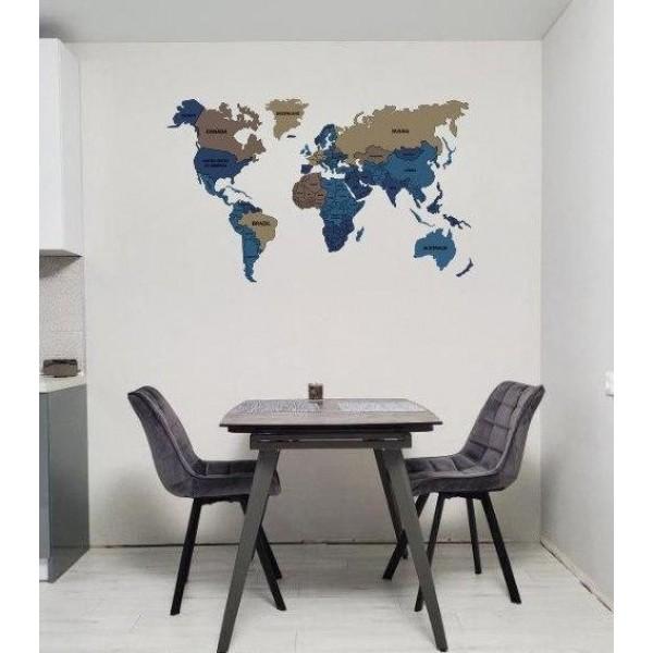 Карта світу з LED підсвічуванням, з ПВХ і акрилу (ультрафіолетовий друк)