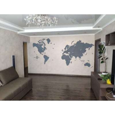 Карта мира из дерева (серый цвет)