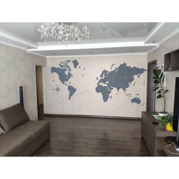 Карта світу з дерева (сірий колір)