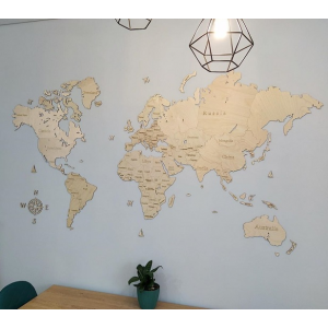 Однослойная карта мира из дерева (цвет натуральный)