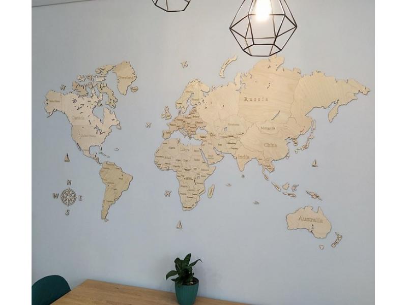 Одношарова карта світу з дерева (колір натуральний)