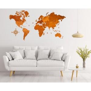 Деревянная карта мира (цвет орех)