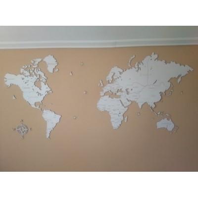 Карта мира с дерева однослойная (белый цвет)