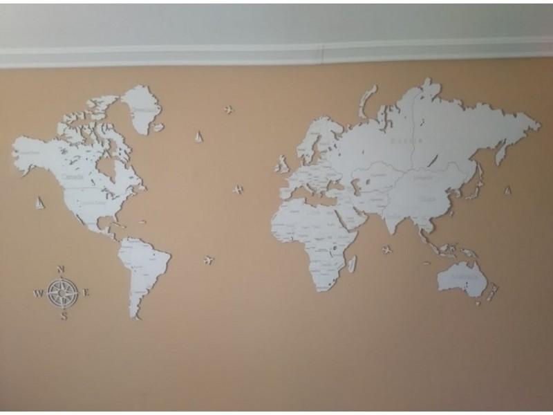 Карта світу з дерева одношарова (білий колір)