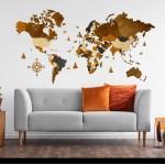 Чотирьохшарова карта світу з дерева (в коричневих кольорах)