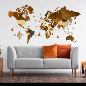 Четырехслойная карта мира из дерева (в коричневых цветах)