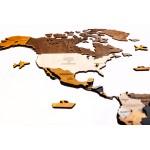"""Багатошарова карта світу з дерева (в коричневих кольорах """"5 Кольорів"""")"""