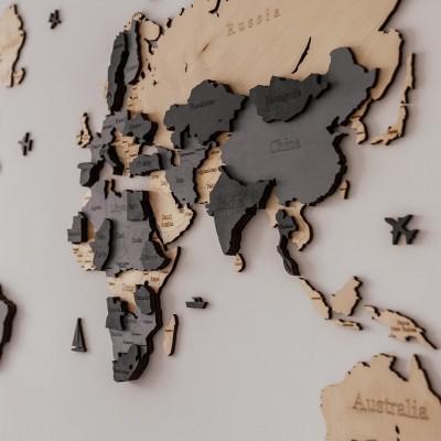 Деревянная 3D карта мира на стену (натуральный и серые цвета)