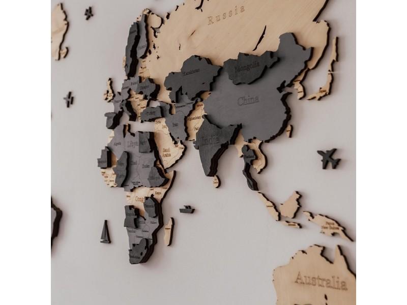 Дерев'яна 3D карта світу на стіну (натуральний та сірі кольори)