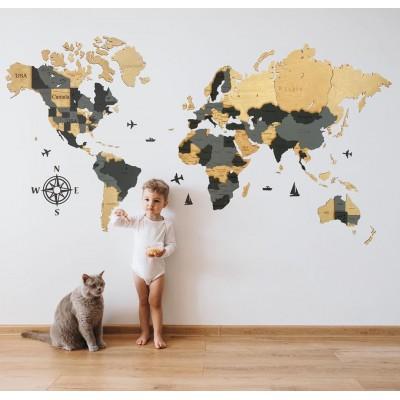 Дерев'яна карта світу з назвами країн та штатів США, Канади і Австралії (світло-сіра)