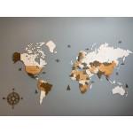 Дерев'яна трьохшарова карта світу на стіну (10 комбінацій кольорів на вибір)