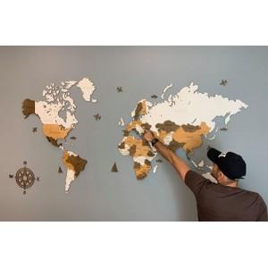 Трехслойная карта мира из дерева (белый и коричневые цвета)