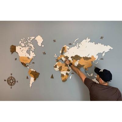 Трьохшарова карта світу з дерева (білий та коричневі кольори)