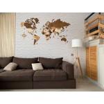 Дерев'яна трьохшарова (багатошарова) карта світу на стіну (до 10 комбінацій кольорів на вибір)