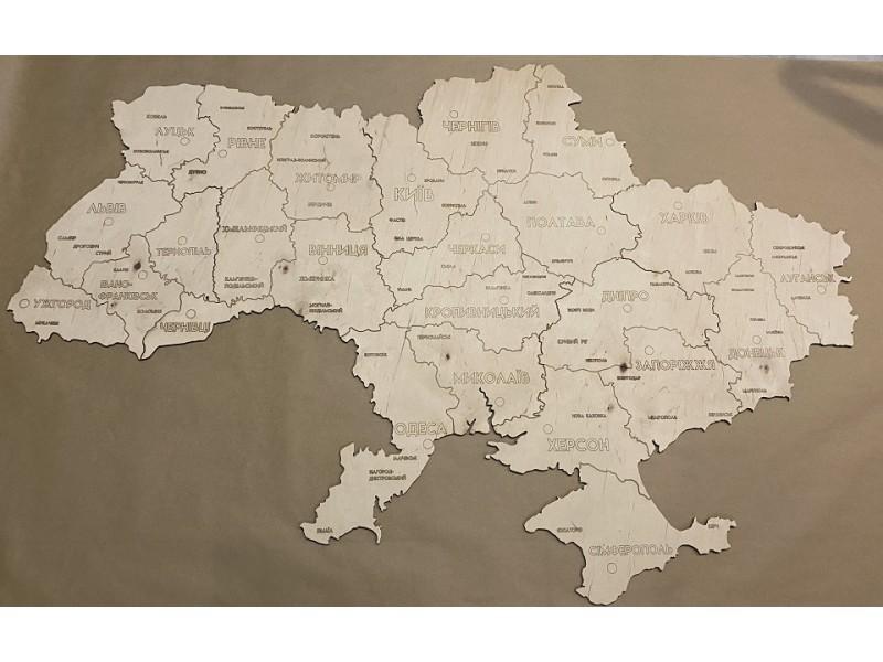 Карта України з дерева (кольори на вибір)