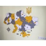 Дерев'яна багатошарова мапа України, кольорова та яскрава з декором