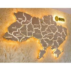 Деревянная карта Украины с LED подсветкой и гравировкой