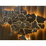 Дерев'яна карта України з LED підсвіткою між областями (з прорізами на акрилі)