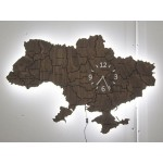 Дерев'яна карта України з годинником та LED підсвіткою