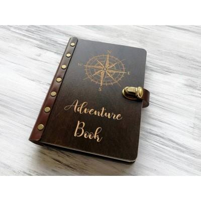 """Блокнот """"Adventure book"""" А5 в дерев'яній обкладинці"""