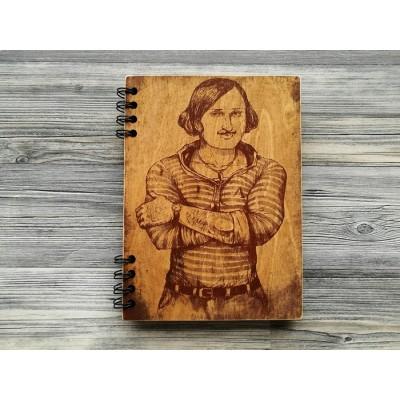 """Блокнот """"Гоголь"""" в дерев'яній обкладинці"""