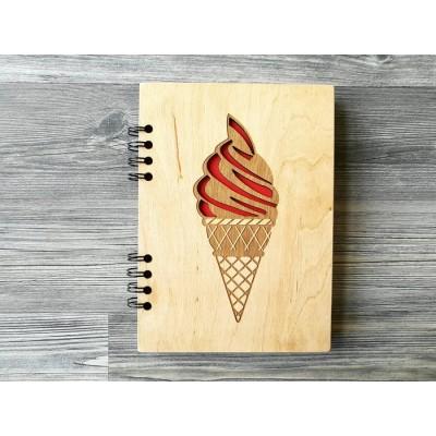 """Блокнот """"Морозиво"""" в дерев'яній обкладинці"""