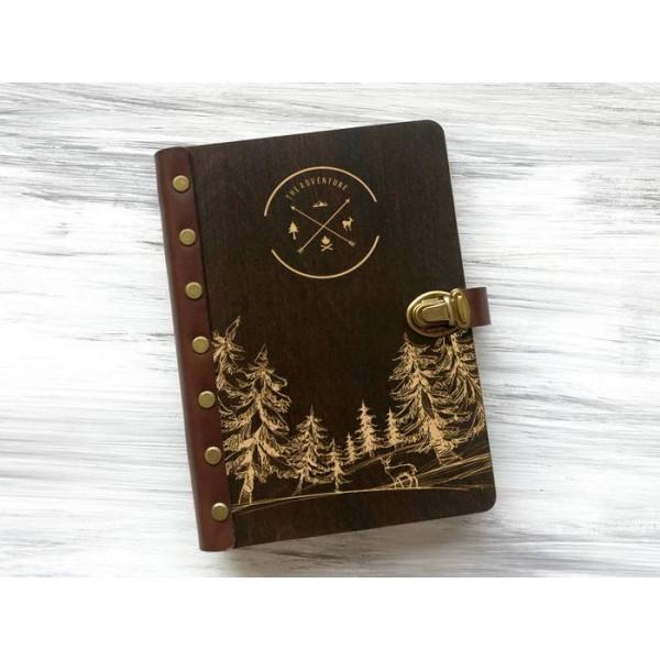 """Блокнот """"The adventure"""" А5 в дерев'яній обкладинці"""