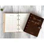 Планер щоденник Ваші цілі в обкладинці з дерева
