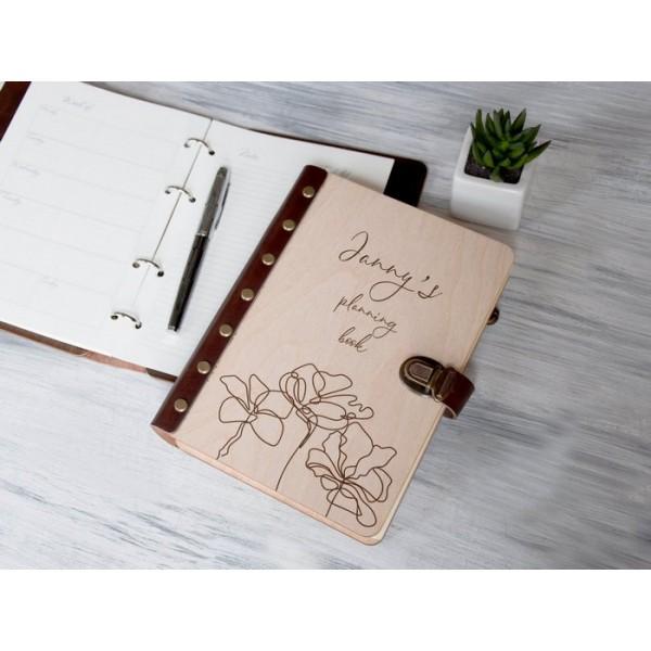 Блокнот-планер Квіточка в дерев'яній обкладинці